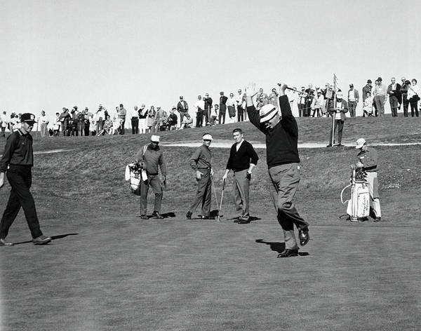 Photograph - A Happy Golfer Celebrates by Underwood Archives