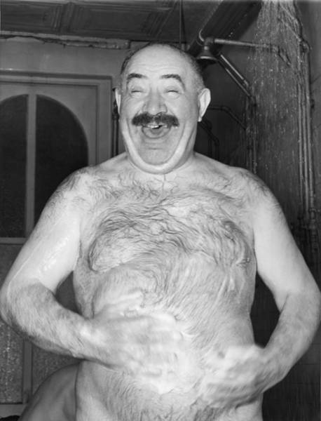 Belly Photograph - A Happy Shower Man by Underwood Archives