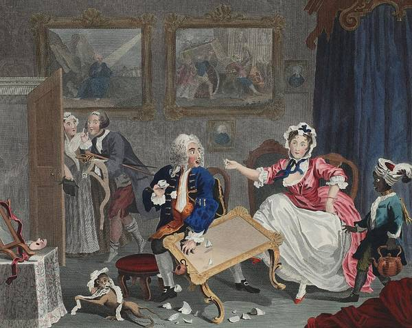 Infidelity Wall Art - Drawing - A Harlots Progress, Plate II by William Hogarth