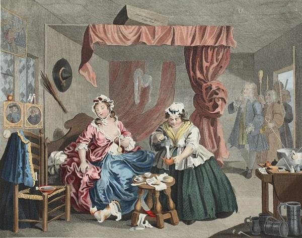 Bedroom Drawing - A Harlots Progress, Plate Lll by William Hogarth