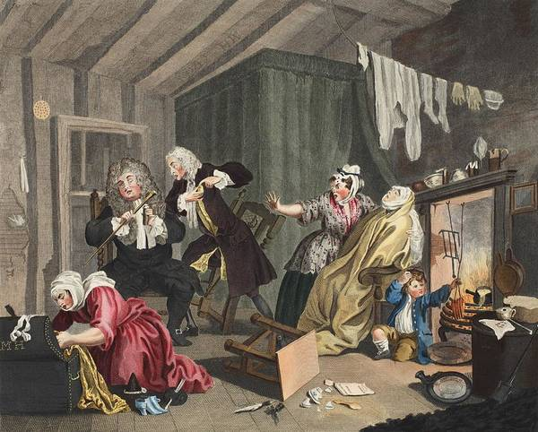 Fireplace Drawing - A Harlots Progress, Plate V by William Hogarth