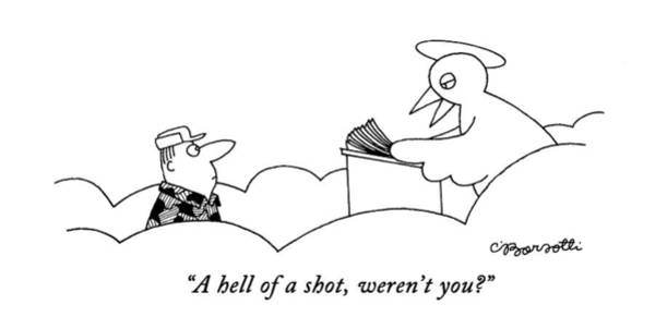 Sports Drawing - A Hell Of A Shot by Charles Barsotti