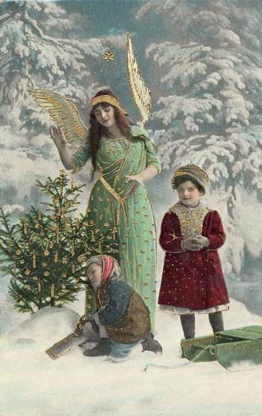Wall Art - Photograph - A Helpful Angel Accompanies  Two by Mary Evans Picture Library