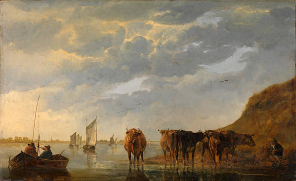 Cuyp Wall Art - Painting - A Herdsman With Five Cows By A River by Aelbert Cuyp