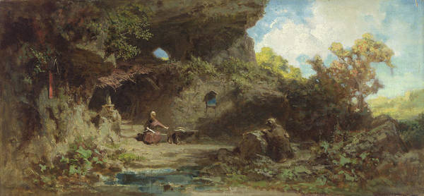 Middle Of Nowhere Photograph - A Hermit In The Mountains by Carl Spitzweg