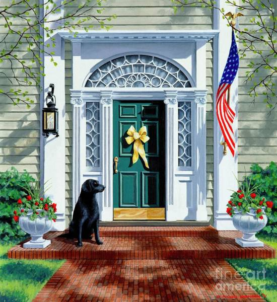 Service Dog Painting - A Hero's Welcome  by Michael Swanson