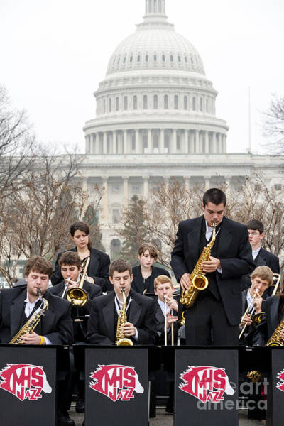Photograph - A High School Jazz Band Plays On The Capitol Grounds by William Kuta