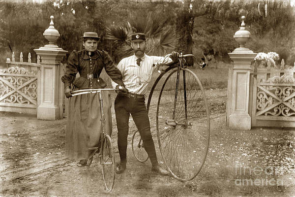 Photograph - A High Wheel Bicycle Also Known As A Penny Farthing Monterey Circa 1890 by California Views Archives Mr Pat Hathaway Archives