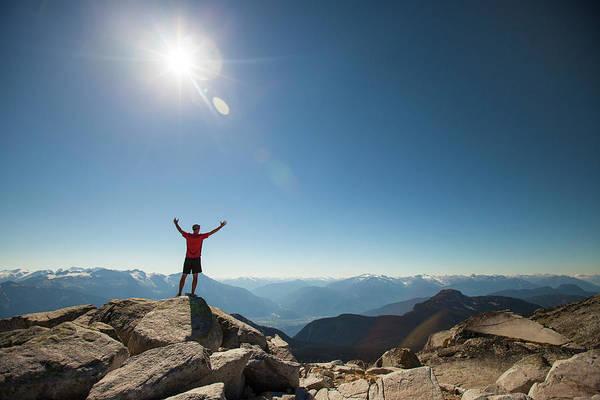 Pemberton Photograph - A Hiker Celebrates After Reaching by Christopher Kimmel