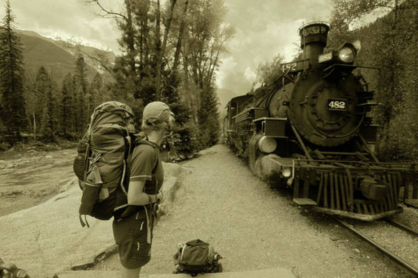 Silverton Photograph - A Hiker Waits To Board The Train by David Clifford