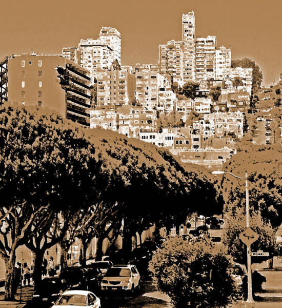 Digital Art - A Hillside View Of San Fran by Joseph Coulombe