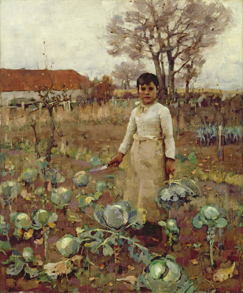 Vegetable Patch Wall Art - Photograph - A Hinds Daughter, 1883 Oil On Canvas by Sir James Guthrie