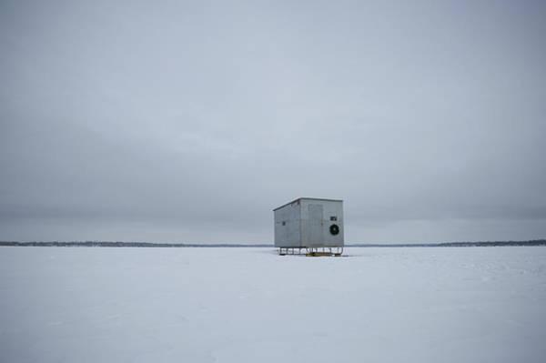 Lake Monona Photograph - A Homemade Ice Shanty Sits Atop The Ice by David Nevala