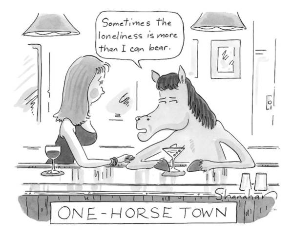 Town Drawing - A Horse And A Woman Are Seen Sitting At A Bar by Danny Shanahan