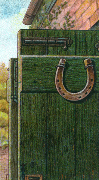 Folklore Drawing - A Horseshoe Is Nailed To A  Farm Door by Mary Evans Picture Library