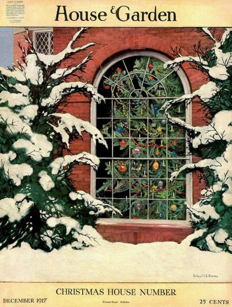Window Photograph - A House And Garden Cover Of A Christmas Tree by Ethel Franklin Betts Baines