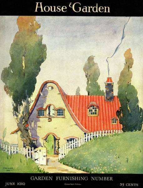 Gate Photograph - A House And Garden Cover Of A Cottage by Maurice Day