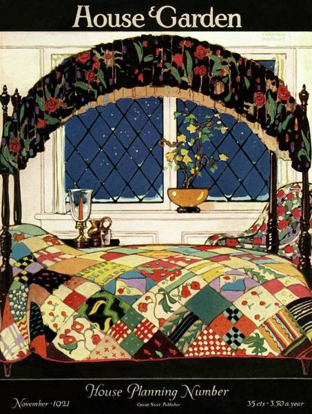 Window Photograph - A House And Garden Cover Of A Four-poster Bed by Clayton Knight