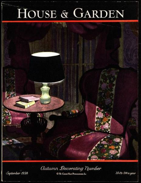 Book Illustration Photograph - A House And Garden Cover Of A Lamp By An Armchair by Pierre Brissaud