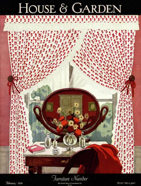 Mirror Photograph - A House And Garden Cover Of A Mirror by Pierre Brissaud