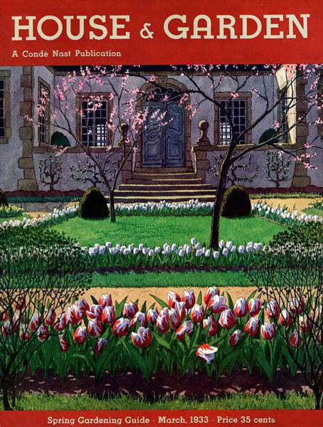 Front Yard Photograph - A House And Garden Cover Of A Tulip Garden by Pierre Brissaud