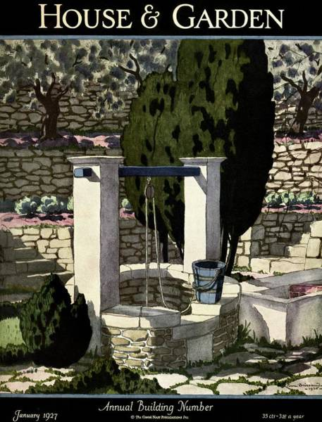 January 1st Photograph - A House And Garden Cover Of A Well by Pierre Brissaud
