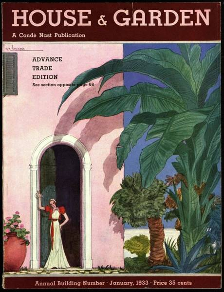 Dwelling Photograph - A House And Garden Cover Of A Woman In A Doorway by Georges Lepape