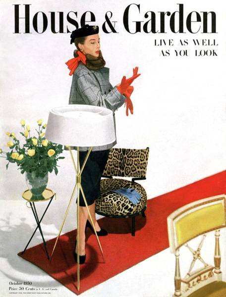 Red Flower Photograph - A House And Garden Cover Of A Woman With A Lamp by Horst P. Horst