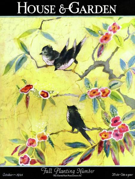 Yellow Background Photograph - A House And Garden Cover Of Chickadees by Leah Ramsay