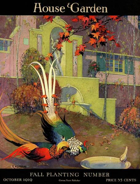 Autumn Photograph - A House And Garden Cover Of Peacocks by L. V. Carroll