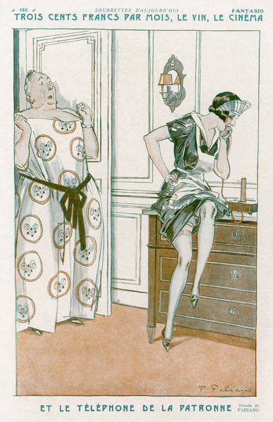 1924 Drawing - A Housemaid Uses The Phone - by Mary Evans Picture Library