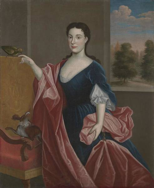 Hudson Valley Wall Art - Painting - A Hudson Valley Lady With Dog by American School