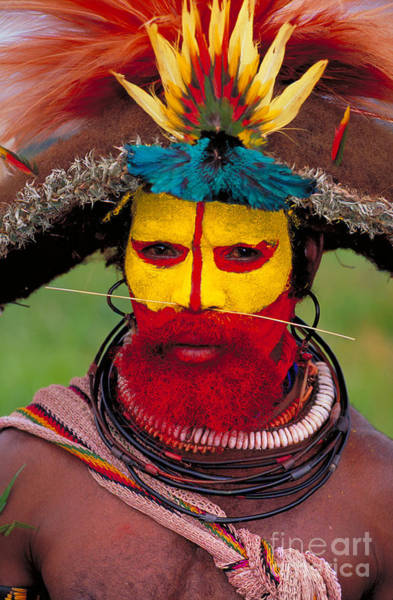 Photograph - A Huli Man by Art Wolfe