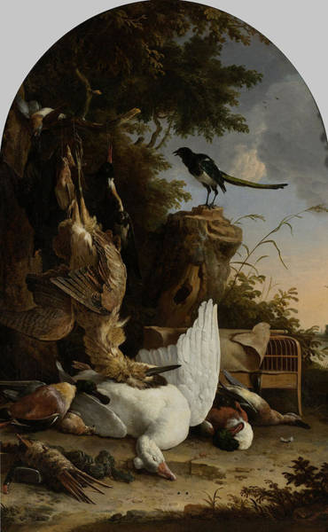 Magpies Drawing - A Hunter's Bag Near A Tree Stump With A Magpie by Litz Collection