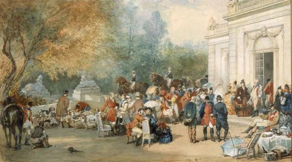 Gentleman Drawing - A Hunting Breakfast In England, 1870 by Eugene-Louis Lami