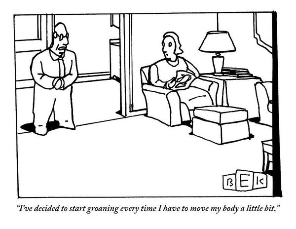 Middle Drawing - A Husband Says To His Wife In Their Livingroom by Bruce Eric Kaplan