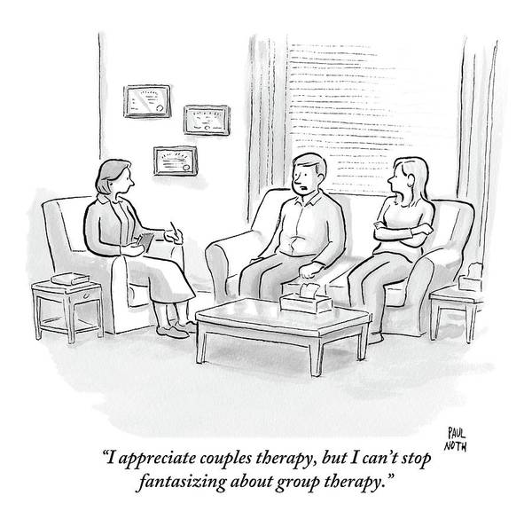 Lamp Drawing - A Husband Talks To His Therapist by Paul Noth