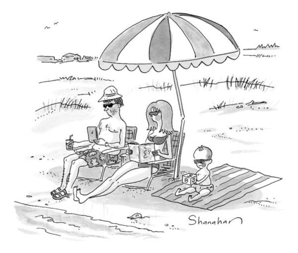 Reading Drawing - A Husband, Wife, And Their Toddler Sit by Danny Shanahan