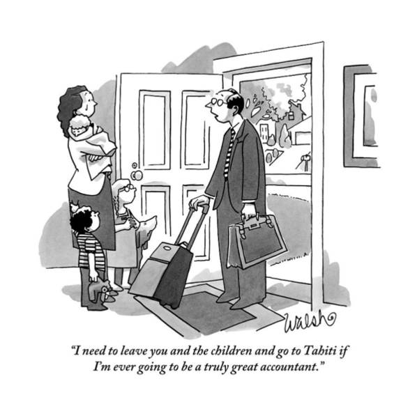 Good News Drawing - A Husband With Packed Bags Tells His Wife by Liam Walsh
