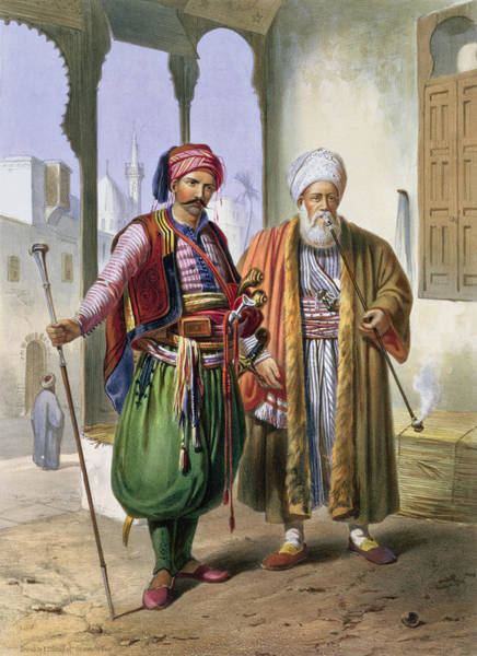 Soldier Drawing - A Janissary And A Merchant In Cairo by Emile Prisse d'Avennes