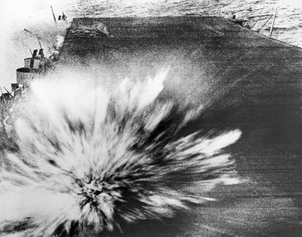 Bomb Photograph - A Japanese Bomb Explodes On The Flight Deck Of The Uss Enterprise by Underwood Archives