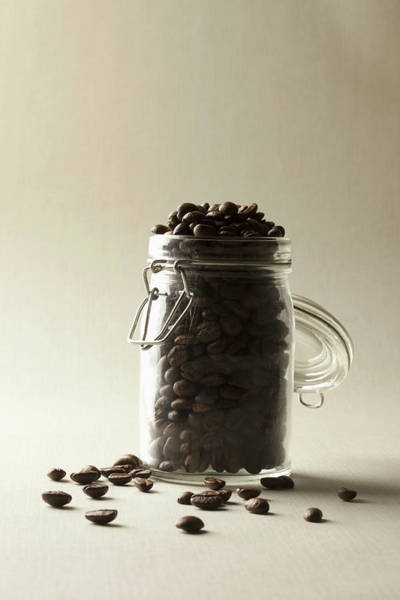 Jar Photograph - A Jar Of Coffee Beans by Larry Washburn