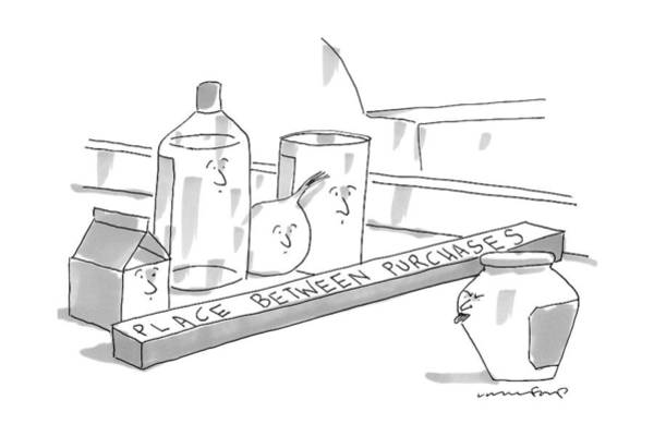 Race Drawing - A Jar On A Supermarket Conveyor Belt Is Sticking by Michael Crawford