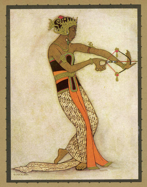 Wall Art - Drawing - A Javanese Dancer Drawing A  Bow by Mary Evans Picture Library