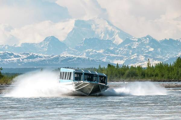 Wall Art - Photograph - A Jet Boat Speeds Down The Susitna by Alasdair Turner