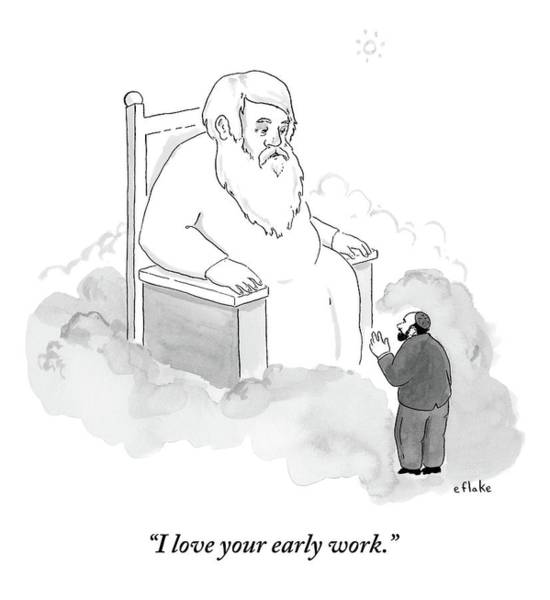 Early Drawing - A Jew Talks To God On His Throne In Heaven by Emily Flake