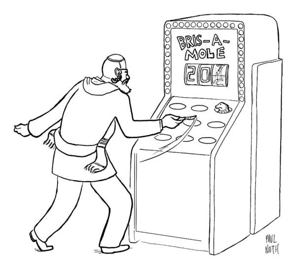 Bris Drawing - A Jewish Man Wielding A Scalpel Is Playing A Game by Paul Noth
