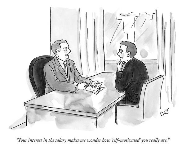 Money Drawing - A Job Interviewer Scolds An Interviewee by Carolita Johnson