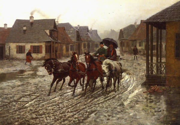 Wagon Digital Art - A Journey In The Rain by A Wierusz Kowalski