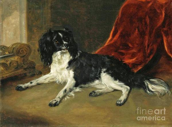Painting - A King Charles Spaniel By A Fireplace by Richard Ramsay Reinagle